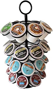 Lily's Home Compatible K Cup Capsules Holder Spinning Carousel for 28 K-Cups in Black. K Cup Storage in Style