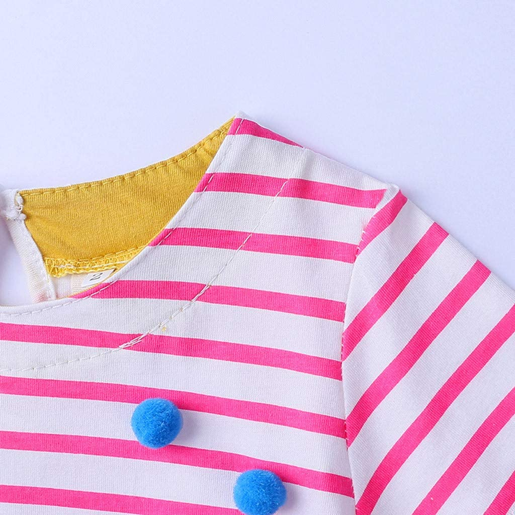 Easyu Kids Baby Toddler Teen Girls Dresses Short Sleeve Turtle Catton Print Stripe Princess Casual Dress Clothes