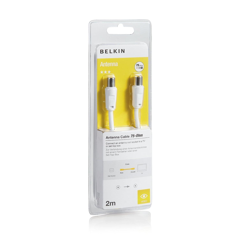 Belkin F3Y054BF2M - Cable coaxial (75 dB, 2 metros), blanco: Amazon.es: Informática
