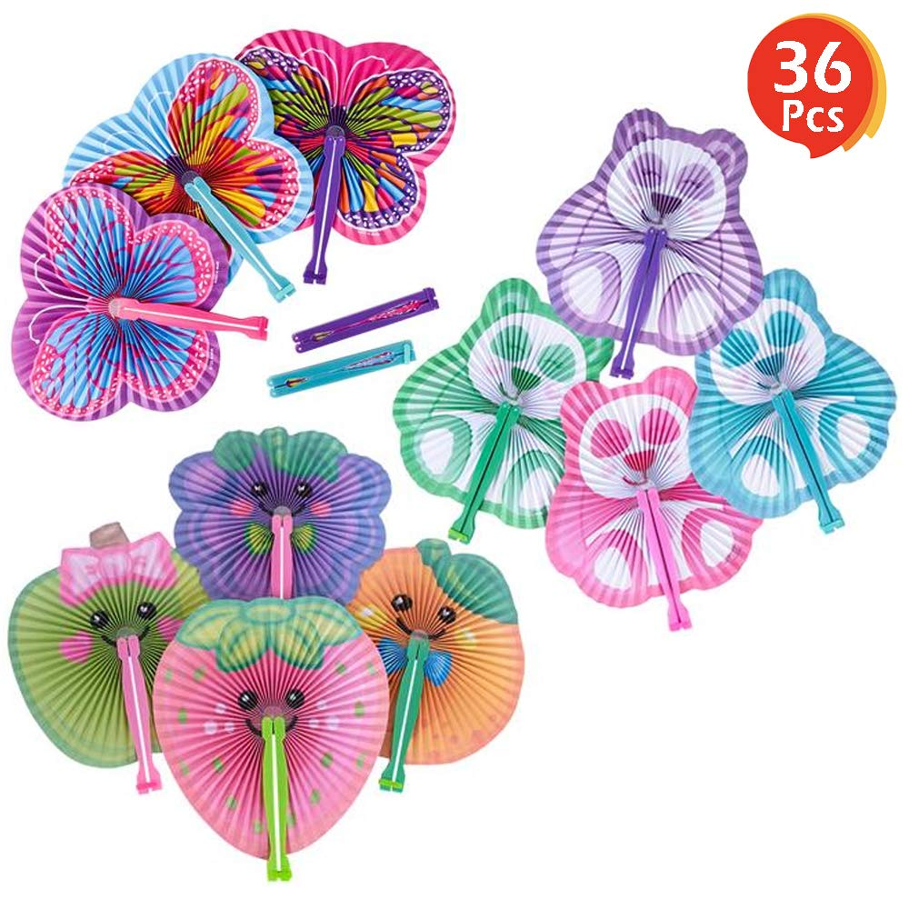 """ArtCreativity 10"""" Handheld Folding Fans for Kids (Set of 36) 