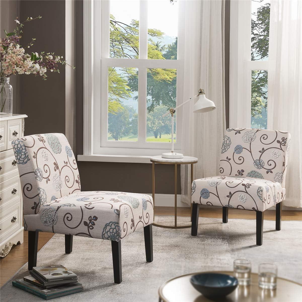 Family Life Modern Polyester Upholstered Print Fabric Armless Accent Chair Set of 2, Rivoli Slipper Chair for Living Room