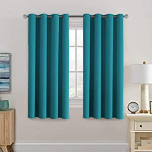H.VERSAILTEX Blackout Curtains Drapes 63 Inch Length for Bedroom/Living Room, Thermal Insulated Small Curtain for Bedroom, Grommet Top - Solid in Turquoise Blue (One Panel)