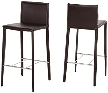Lot De 2 Tabourets Bar ANDREW Chaise Haute En Cuir Marron