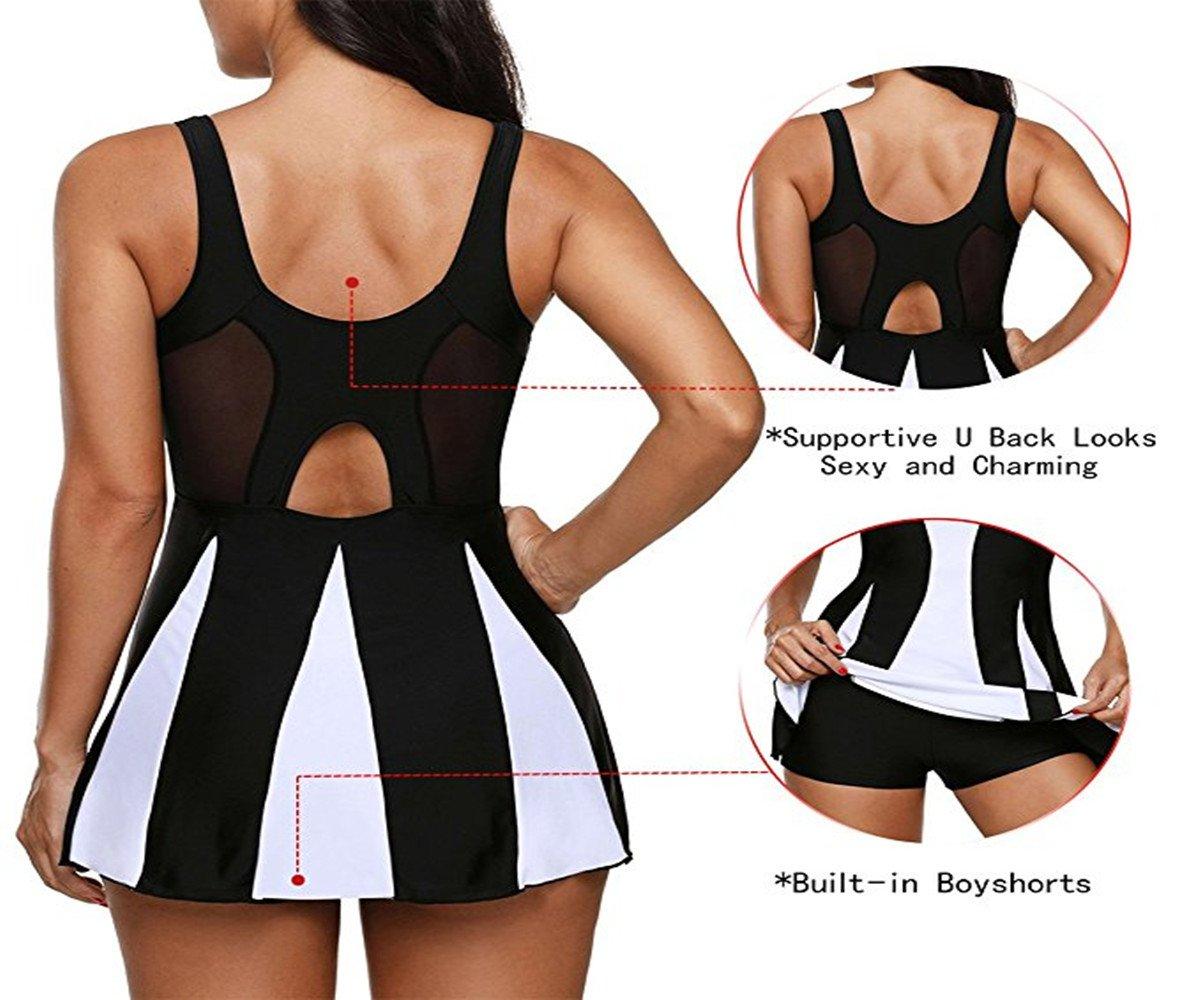 Century Star Women's Elegant Dress One Piece Boy-Leg Bathing Suit Swimdress Printed Swimwear Swimsuits Black White XL(US 12-14) by Century Star (Image #6)