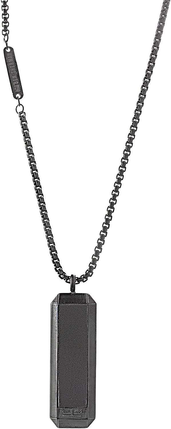 """Ben Sherman Stainless Steel Leather Dog Tag Pendant 26"""" Box Chain Necklace for Men (Black)"""