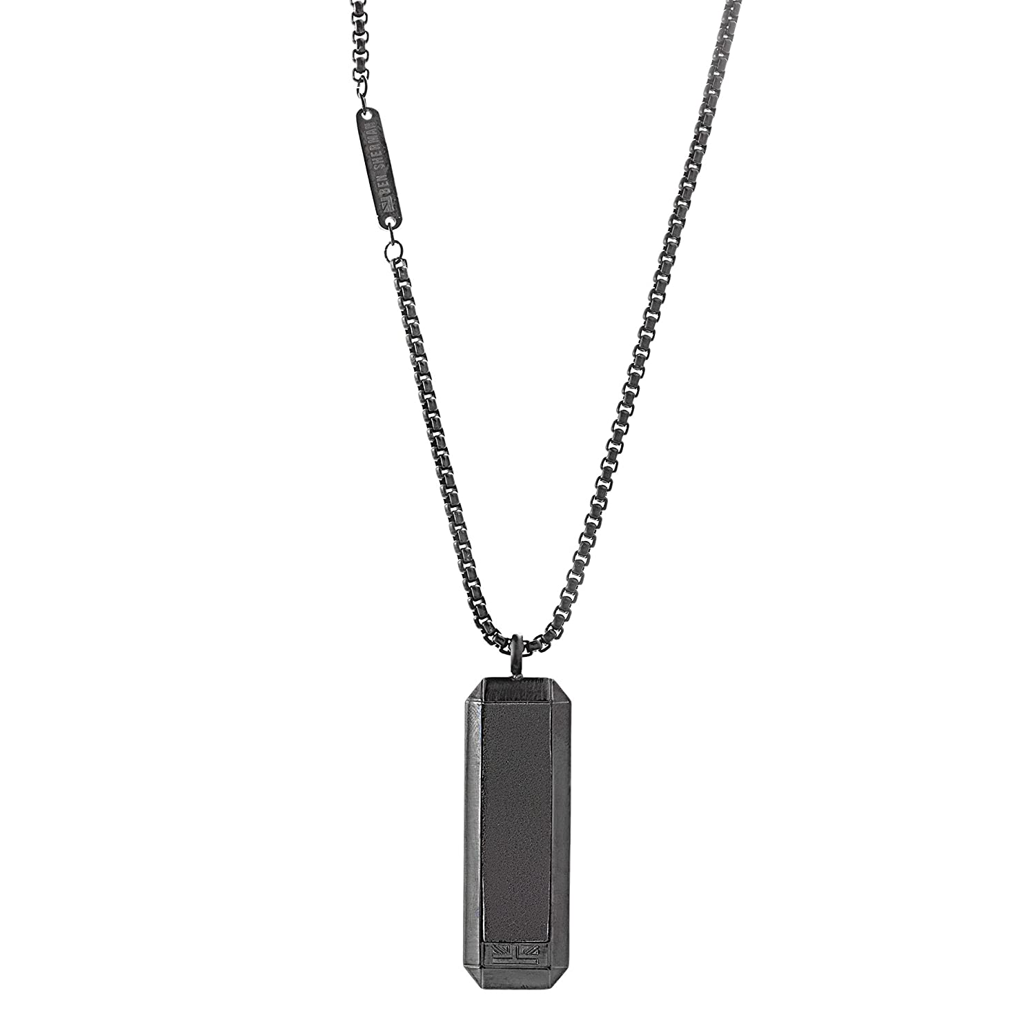 Ben Sherman Men's Black Leather Dog Tag Necklace with Stainless Steel Black IP Box Chain, 26 BSNS541012B-LBK