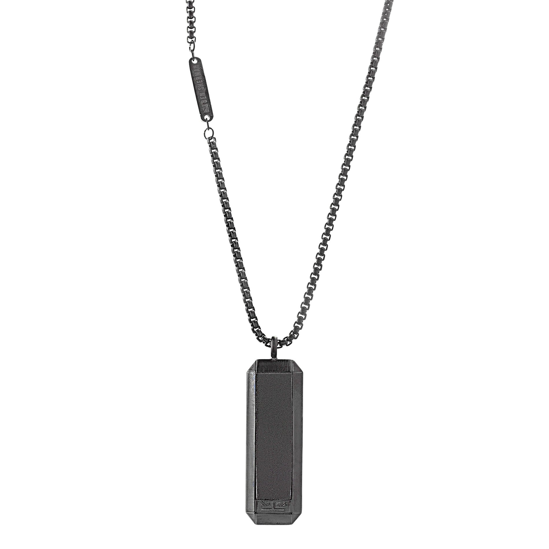Ben Sherman Stainless Steel Men's Leather Dog Tag Pendant 26'' Box Chain Necklace (Black)