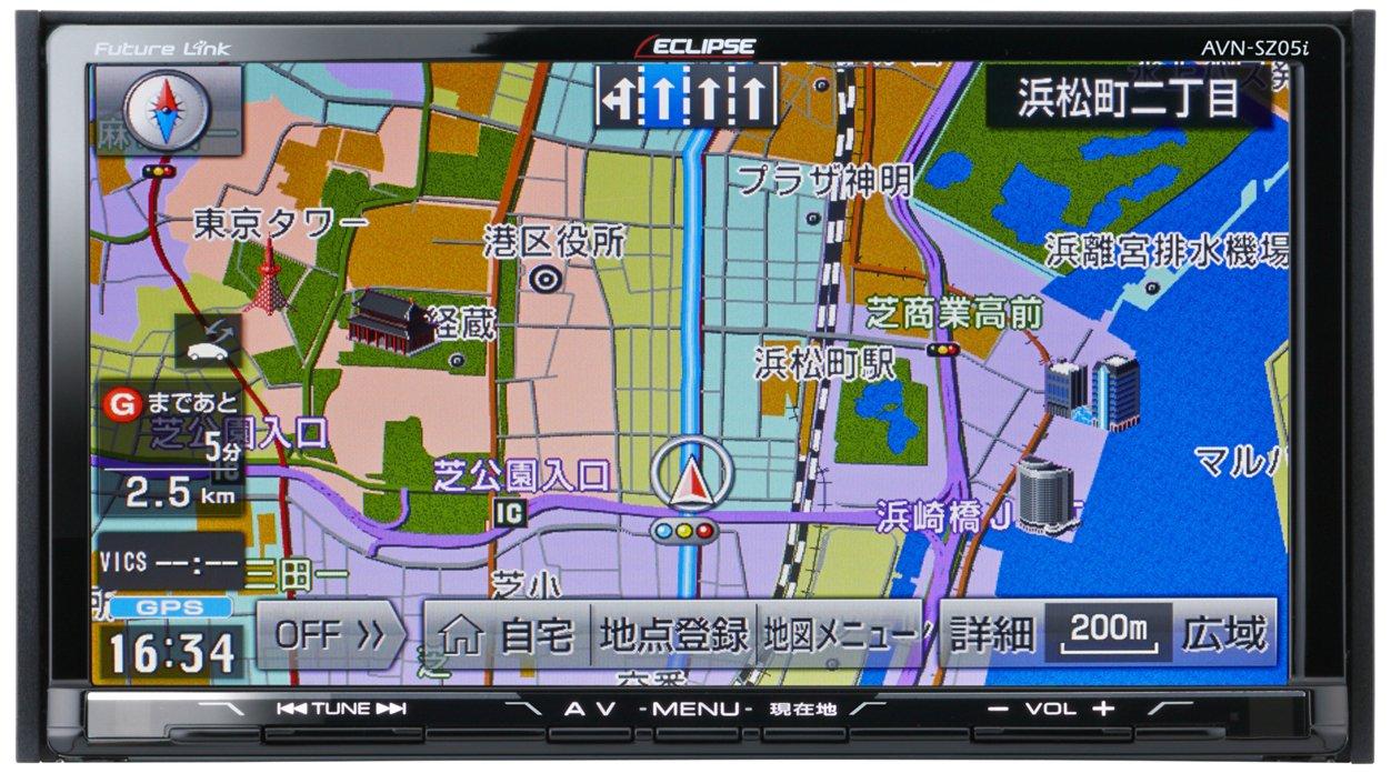 デンソーテン イクリプス(ECLIPSE) 7型 カーナビ AVN-SZ05i 地図自動更新/地デジ(フルセグ)TV/SD/CD/DVD/Bluetooth/Wi-Fi (2DINサイズ) B016CTZASO