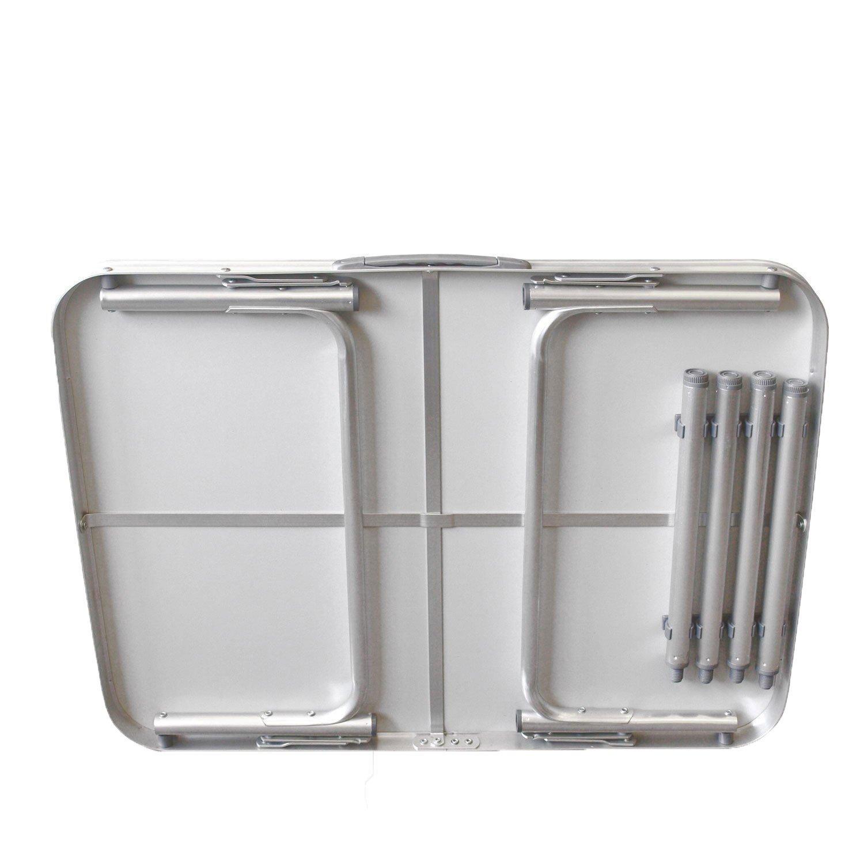 Gartentisch Camping Tisch Reisetisch Abstelltisch Silber//Wei/ß Smartweb Alu Campingtisch Klapptisch 75 x 55cm nur 3.2 Kg