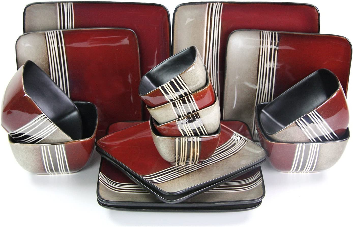 Elama Square Stoneware Loft Collection Dinnerware Dish Set, 16 Piece, Red and Tan with White Accents