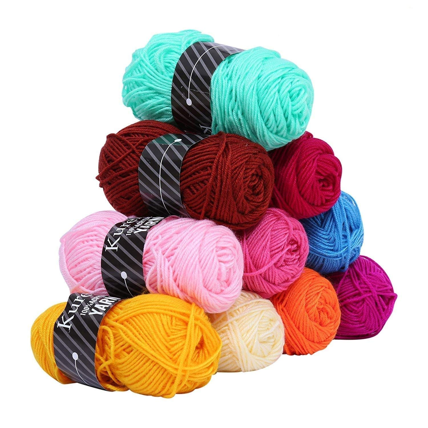 Acrylic Yarn Knitting Wool Set - Assorted Colors - Pack of 10 X 50gm Bundles Kurelle