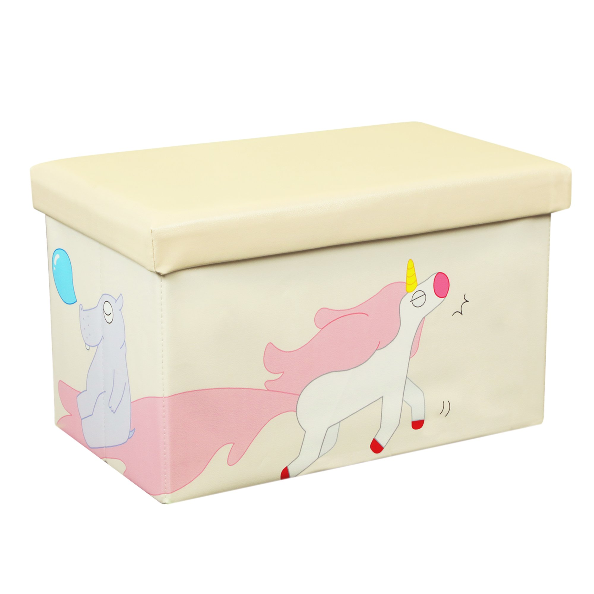 Otto & Ben 23'' Toy Box - Folding Storage Ottoman Chest with Foam Cushion Seat, Washable Faux Leather Foot Rest Stools for Kids, Unicorn and Hippo