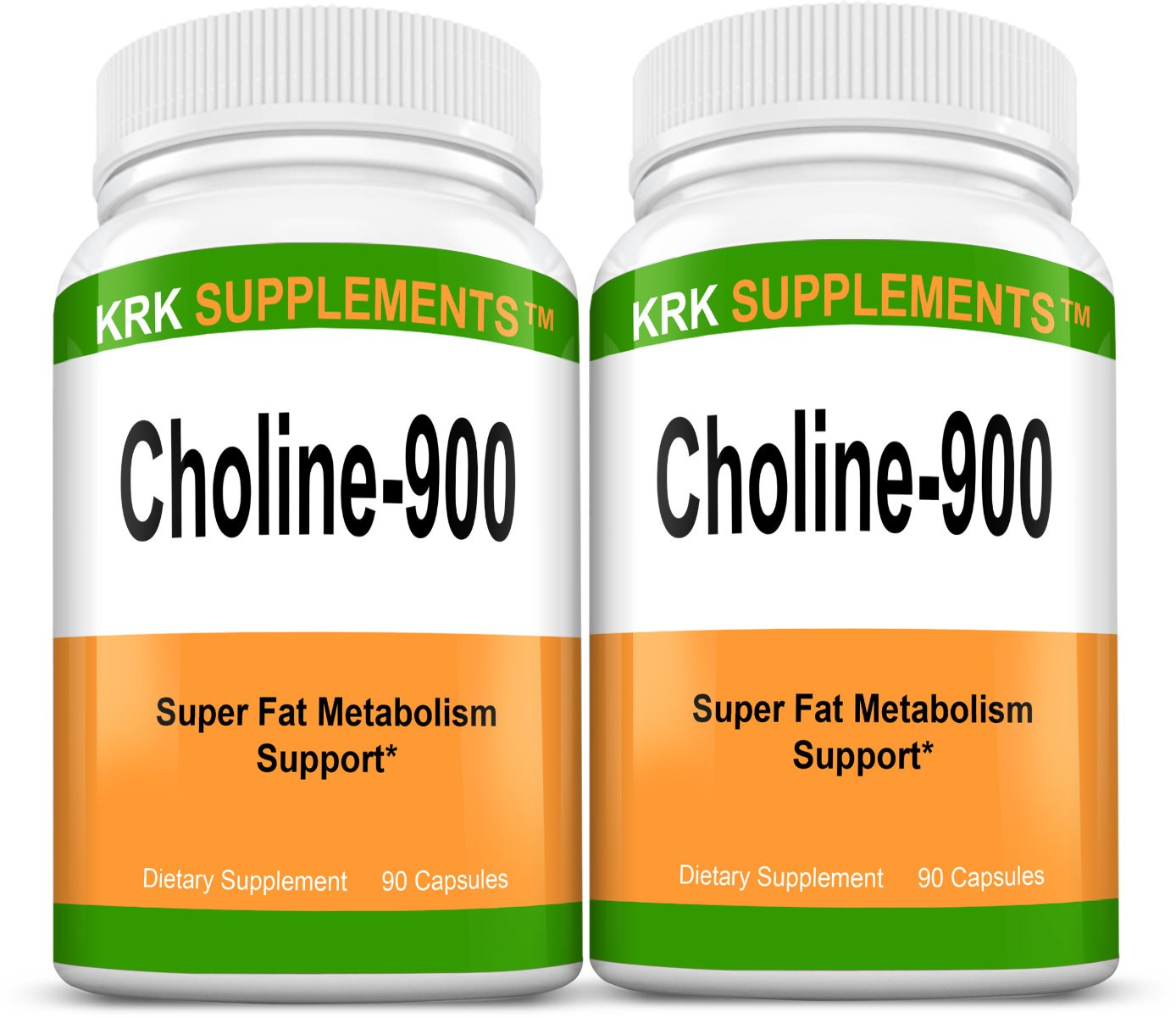 2 Bottles Choline Bitartrate 900mg Per Serving 180 Total Capsules KRK Supplements