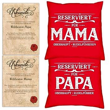 Geschenk Set Eltern 2 Kissen 2 Urkunden Mama Papa Weihnachtsgeschenk