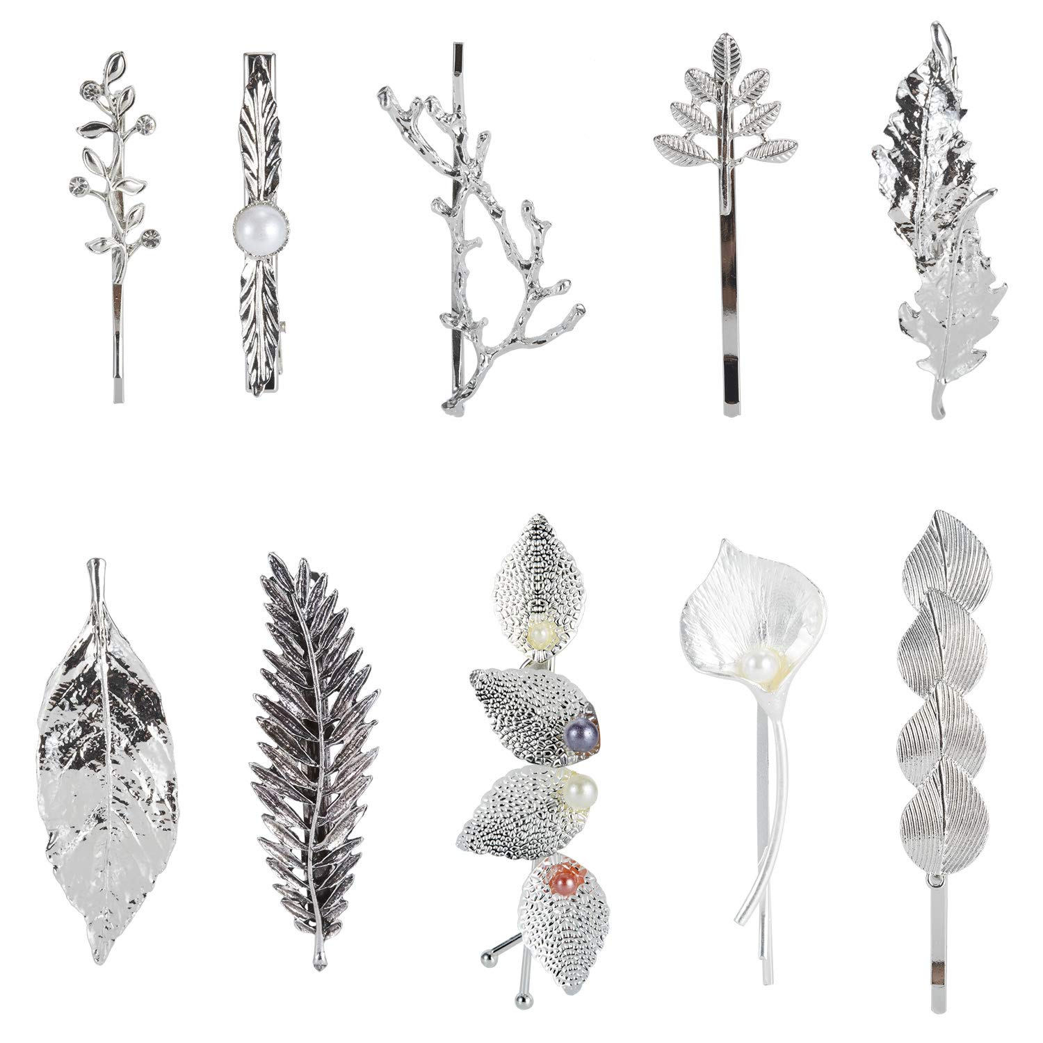 10 Pack Silver Vintage Retro Geometric Minimalist Branch Leaf Flower Metal Hair Clip Hairpin Snap Barrette Stick Claw Grip Clamp Bobby Pins Alligator Hairclips Party Hair Accessories for Women Girl