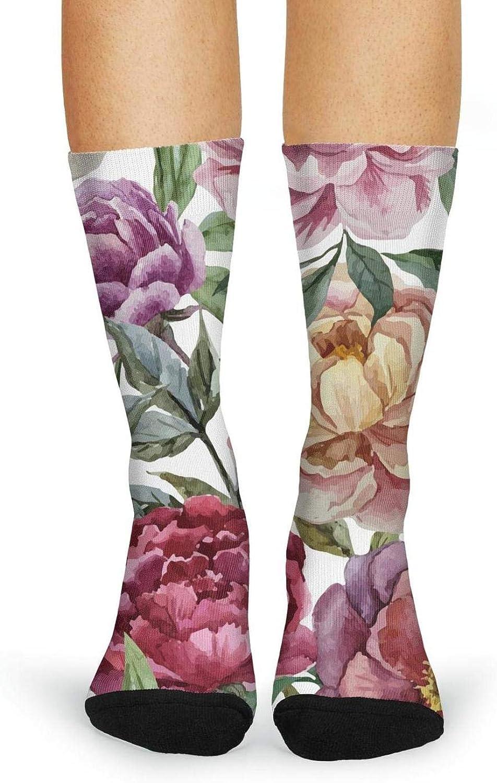 XIdan-die Womens Over-the-Calf Tube Socks Beautiful watercolor peony flowers Moisture Wicking Casual Socks