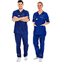 AIESI® Uniforme Sanitario Hombre Mujer de algodón 100% sanforizado Pantalones y Casaca con Cuello en V