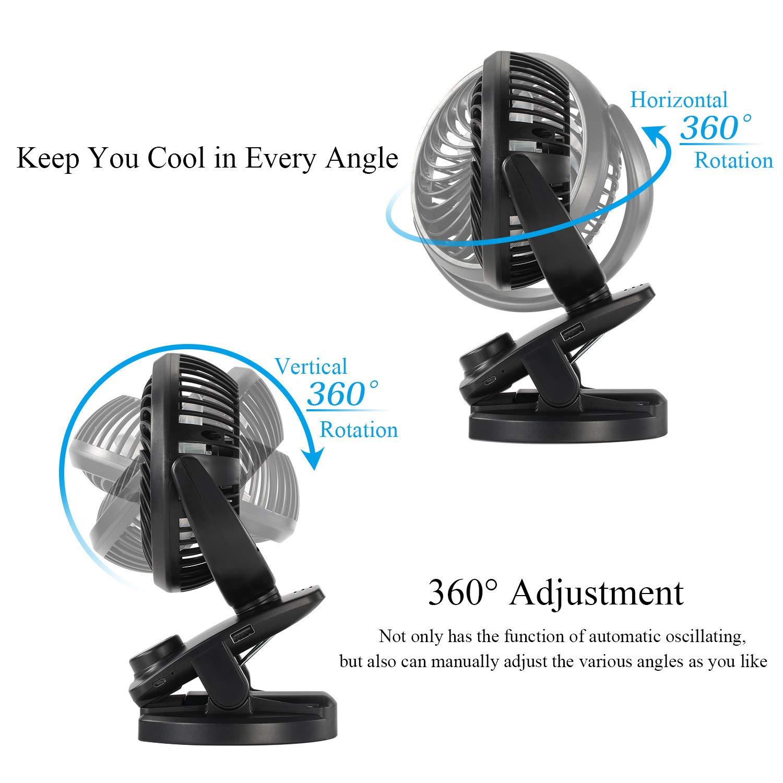 360/° Rotation Portable Personal Fan for Baby Stroller//Car//Gym//Office//Outdoor//Travel//Camping Sendowtek Stroller Fan USB Table Fan with Rechargeble 4400mAh Battery Mini Clip Desk Fan