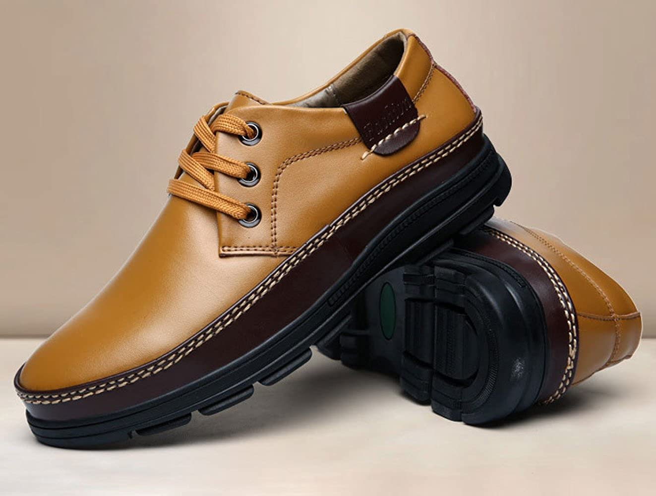 Casual Herrenschuhe Lace-up-Mode Schuhe Lederschuhe Bequeme Breathable Niedrig Schuhe Lace-up-Mode Yellow c79d48