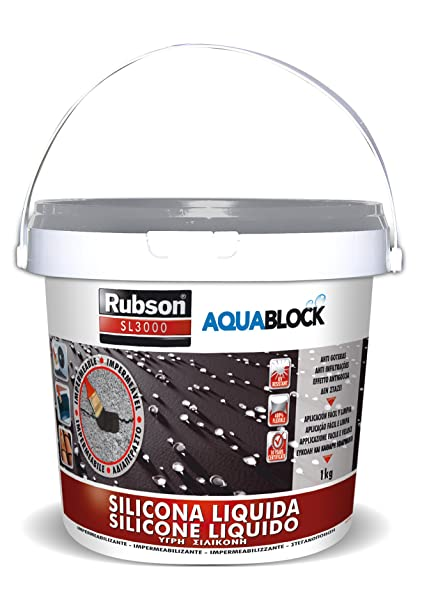 Rubson Aquablock SL3000, silicona líquida impermeabilizante color gris, 1kg