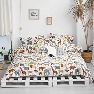 XUKEJU Elephant Flamingo Lion Dinosaur Deer Zebra Duvet Cover Set, Animals Zoo Bedding Pillowcases Pure Cotton Made Twin Size