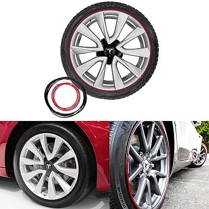 Basenor Tesla Model 3 Wheel Bands Kit Rim Protection For All Four Wheels Red