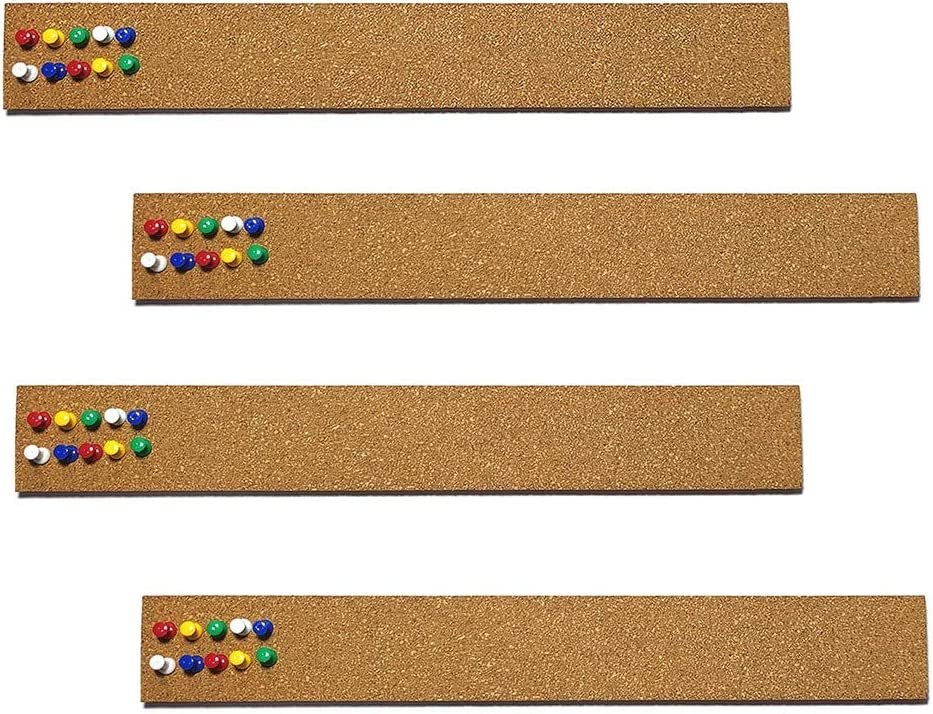 """4 Pcs Cork Board Strips with 35 Pcs Push Pins 15"""" x 2"""" - 1/2"""" Thick Cork Bulletin Bar Strips for Office, School, Home Décor"""