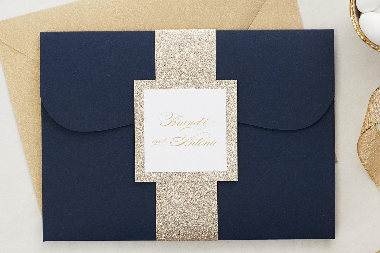 Amazon.com: Custom Elegant Wedding Invitations Set in Pocketfold