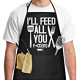 Funny Aprons for Men with 2 Pockets Cooking Kitchen Black Apron BBQ Grill Birthday Gifts for Men Dad, Husband, Boyfriend