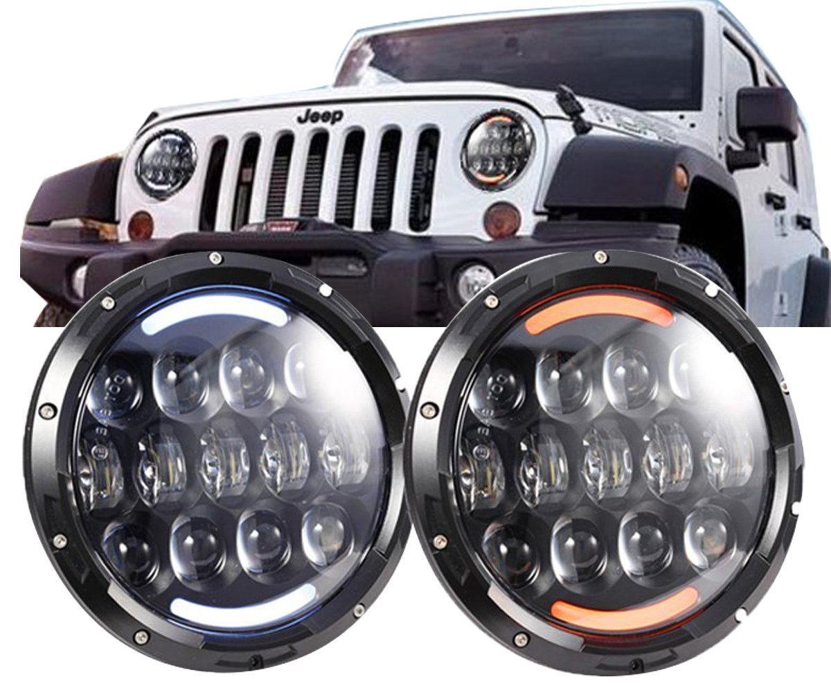 Jeep Cj Front Bumper Cowone 105w Osram Brightest 7 Inch Led Headlights For Wrangler Jk Lj Tj
