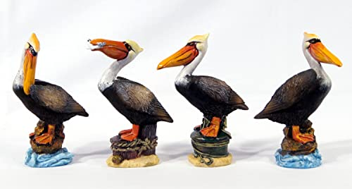 Handpainted Pelican Bird Figurine 6.75 Set Of 4