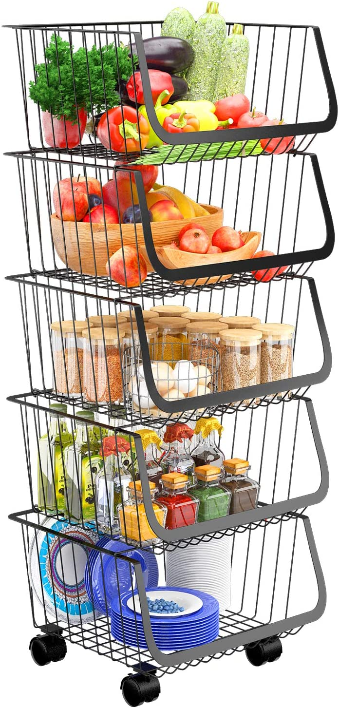 Wire Storage Basket 5 Tier Metal Rolling Stackable Cart Organizer Storage Bins with Wheels Fruit Vegetable Baskets for Organizing Kitchen Pantry Closet Bathroom, with Fixed Foot and Black Liner