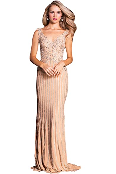 Jovani Prom 2018 Dress Evening Gown Authentic 58488 Long Soft Champagne
