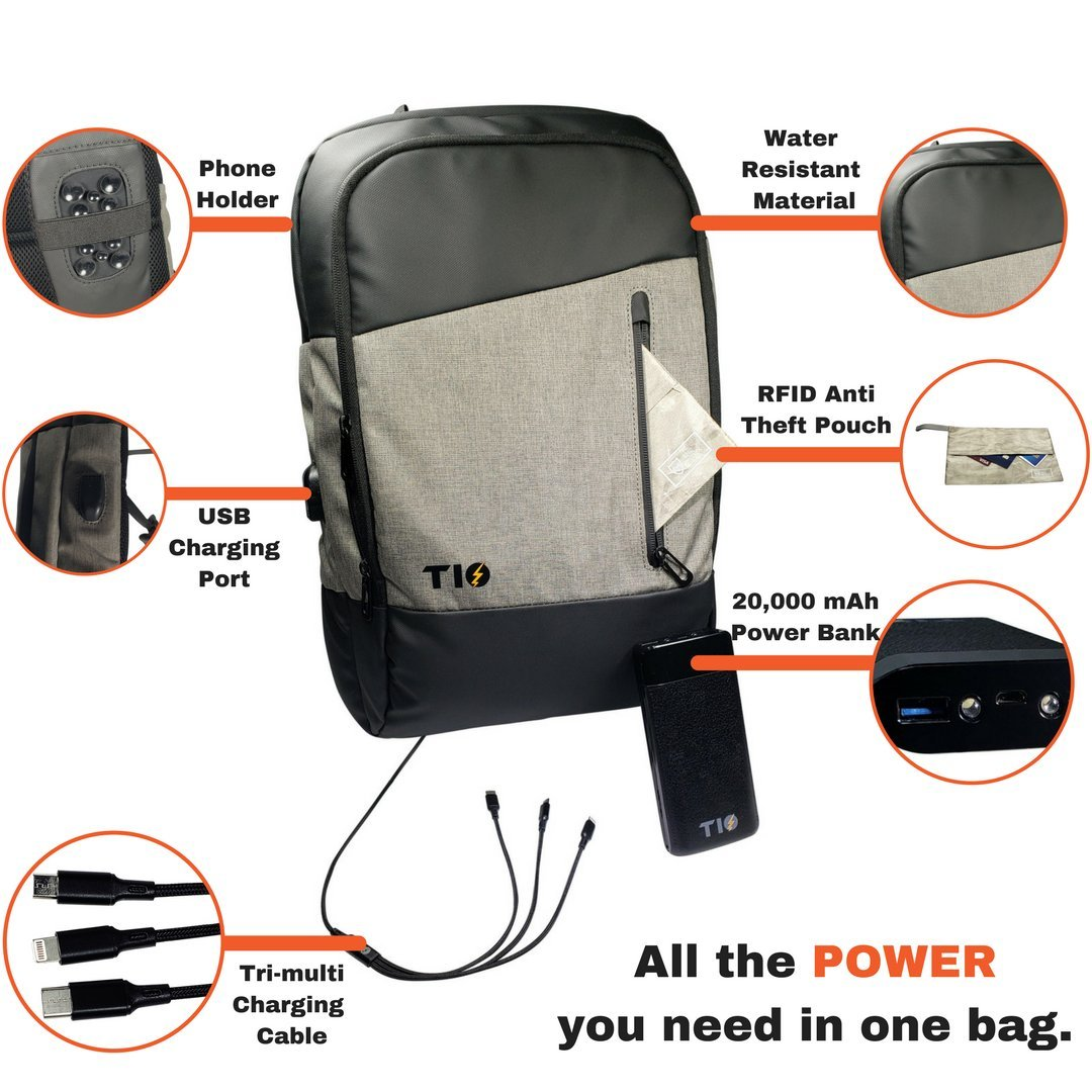 Laptop Backpack + USB Power Bank | 20000mah Portable Phone Charger Comes With USB C 3-in-1 Cable | Computer Backpack For Tablets MacBooks & Cell Phones | Bonus: RFID Pouch