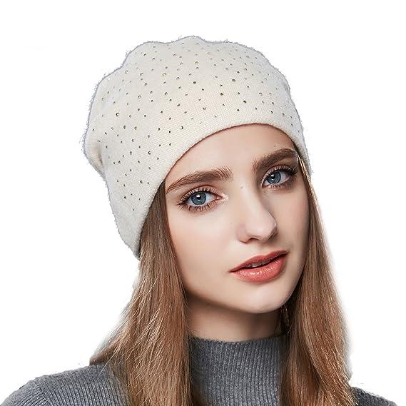 462a1af8c52 URSFUR Bonnet Tendance Jersey Tricot Femme Fille Orné Strass Chapeau Bonnet  Beanie Hiver Beige