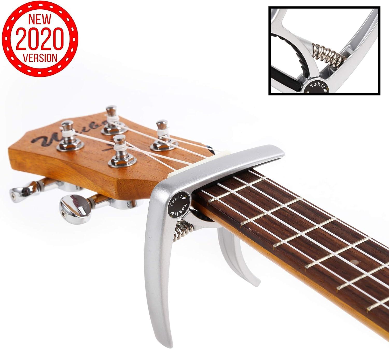 TAKIT Cejilla para Guitarra Acústica y Eléctrica - GARANTÍA DE POR VIDA - Apta para Ukelele, Banjo y Mandolina - Profesional, Alto Rendimiento - Fabricada con Aleación de Zinc - Plata