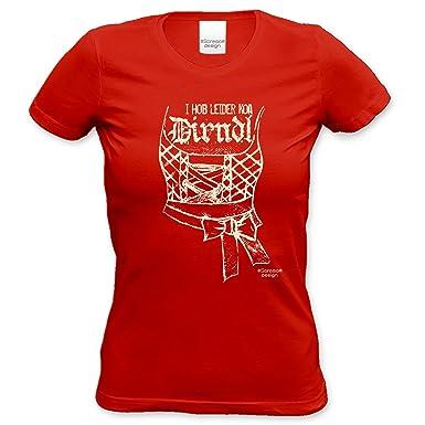 Frauen Damen T-Shirt Outfit Motiv I hob leider koa Dirndl ideales Geschenk  Oktoberfest, Volksfest, Kirmes fürs Bierzelt, Wiesn Farbe: rot: Amazon.de:  ...