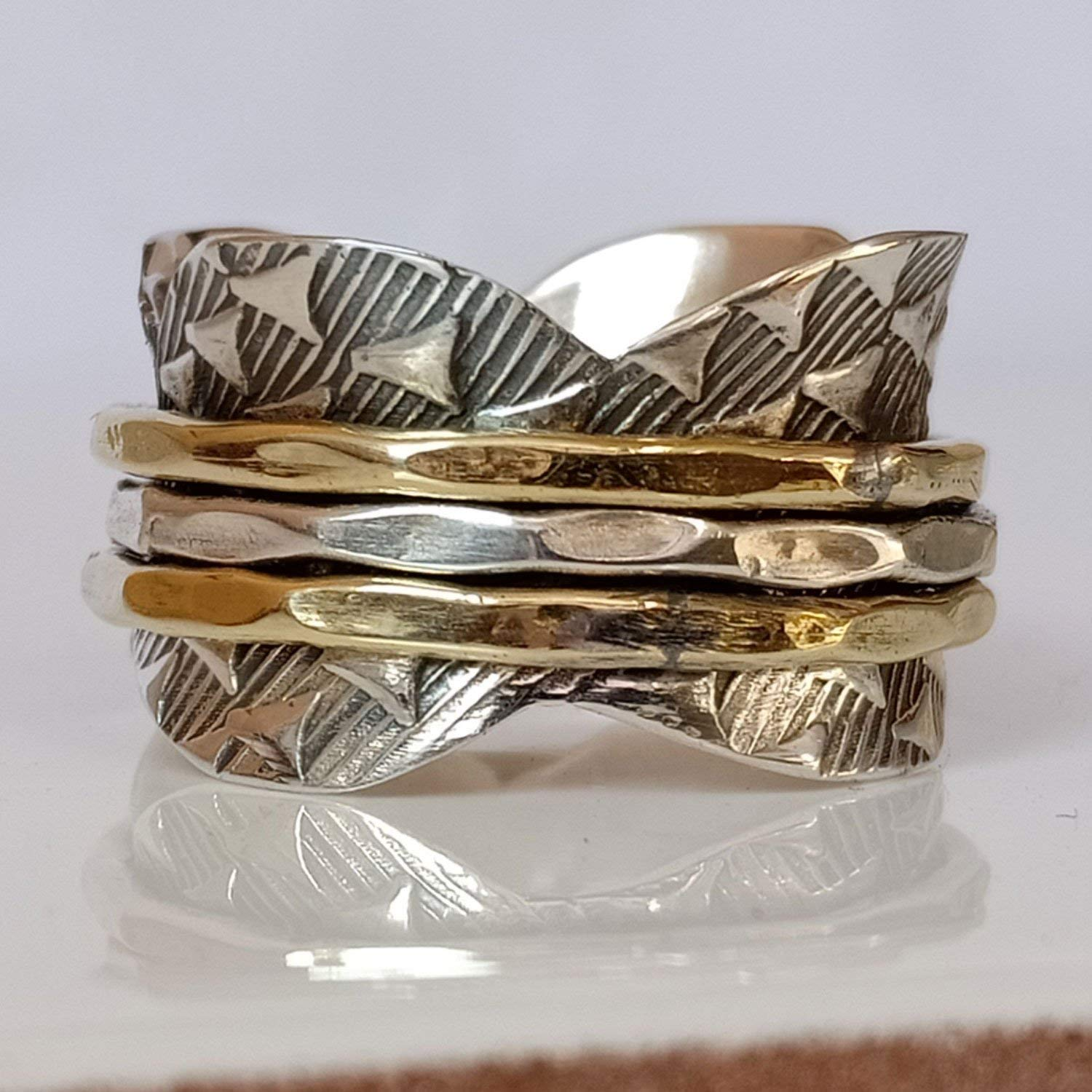 Three Tone Spinner Ring**Copper Ring* Sterling Silver Ring ...