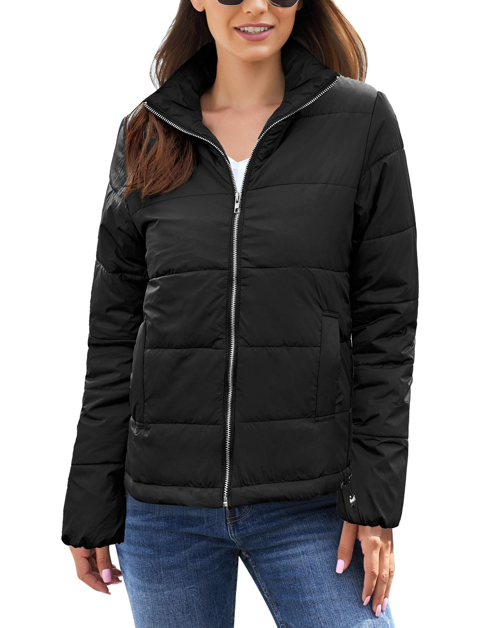 GRAPENT Women's Black Casual Pockets Zipper Quilted Parka Jacket Puffer Coat Winter Outerwear Large US 12-14 by GRAPENT