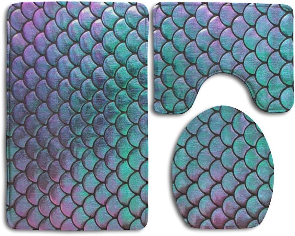 3Pcs//Set Mermaid Bathroom Non-Slip Rug+Lid Toilet Covers Bath Mat+Shower Curtain