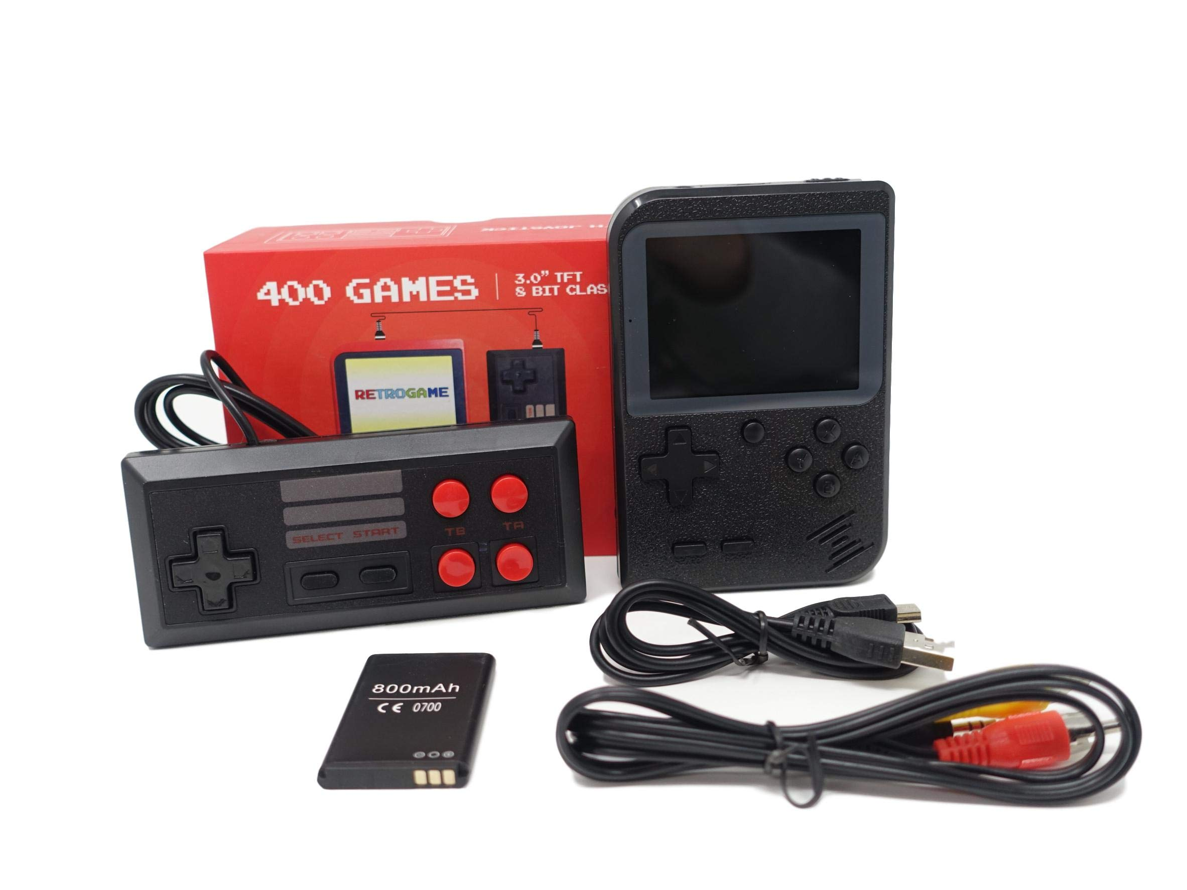 Vsuppliesonline Retro Handheld Game Console FC System Plus Extra Joystick Portable Mini Controller 400 Classic Game Console 3 Inch Support TV 2 Player Present for Boy Kids Adult by Vsuppliesonline (Image #1)
