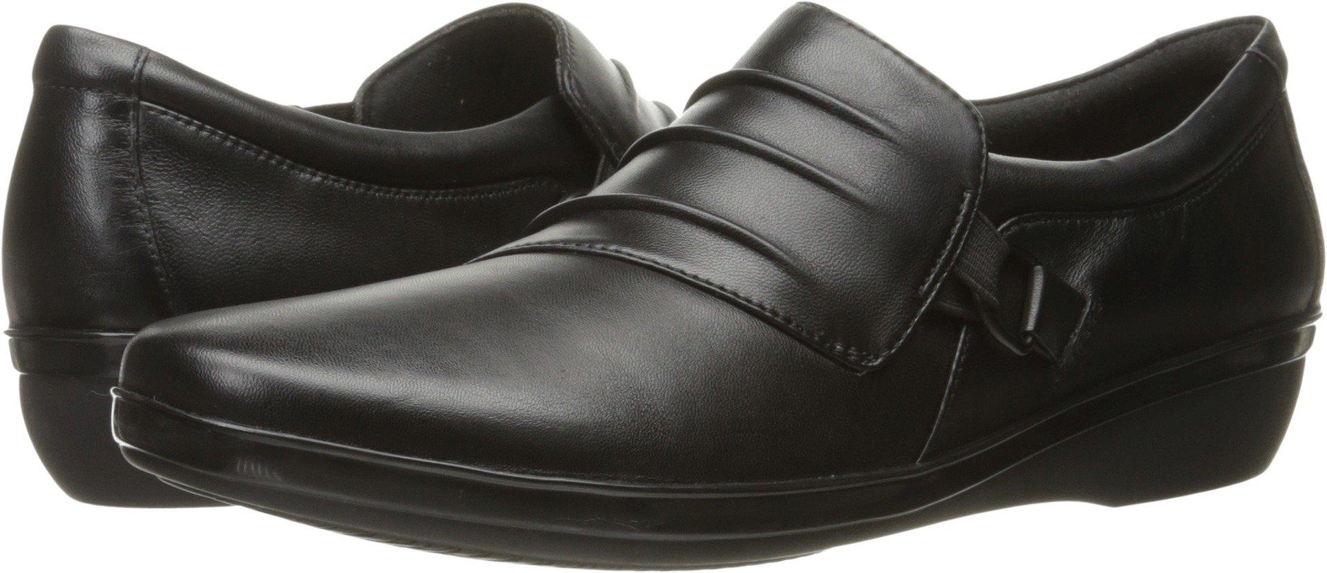 CLARKS Women's Everlay Heidi Slip-on Loafer, Black Leather, 8.5 W US