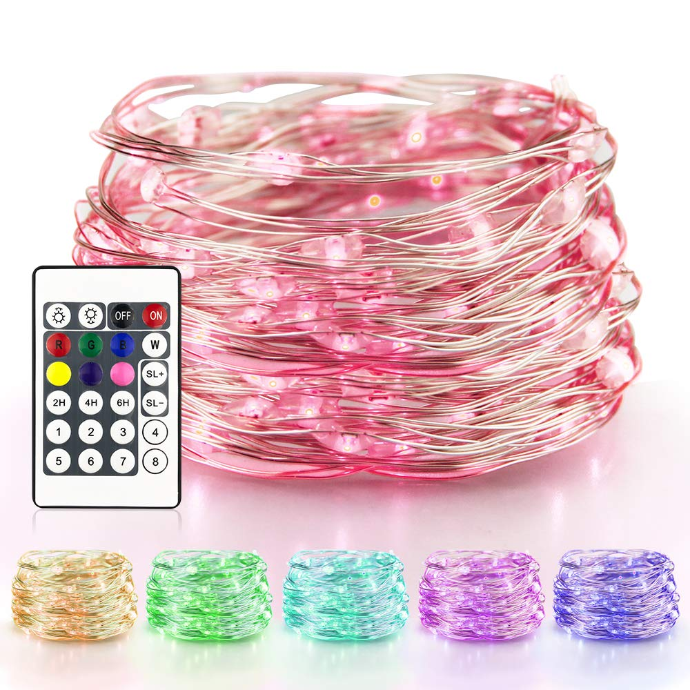 E-lip LED Fairy Lights, Waterproof Battery Power 50 LEDS 16FT Multi Colored LED String Lights with Remote Control for Mason Jar Lights, Home, Patio, Garden, Party, Wedding, Festive Decor(7 Colors)