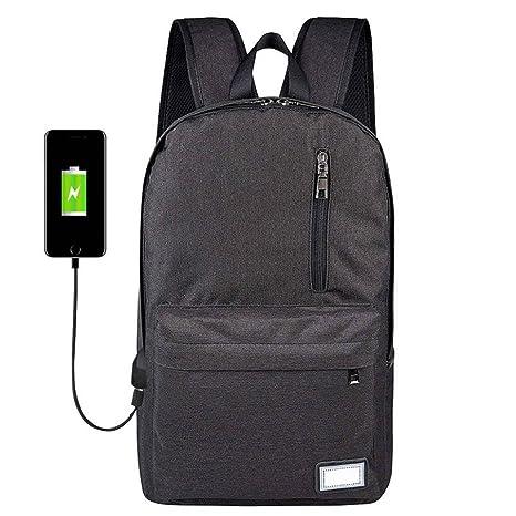 Winkey Mochila para Niñas, USB antirrobo, Mochilas de Ordenador Macho Gris Mochilas de Viaje