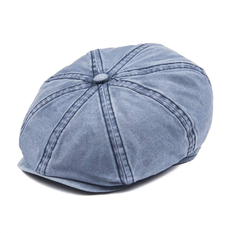 0b7b75cb8ab22 Black Washed Cotton Newsboy Cap Men Women 8 Panel Ivy Flat Caps ...