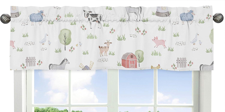 5 Pieces Comforter Watercolor Farmhouse Lattice Horse Cow Sheep Pig Sweet Jojo Designs Farm Animals Boy Girl Toddler Kid Childrens Comforter Bedding Set Sham and Sheets