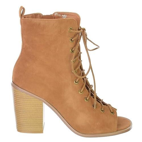 Mujer Cremallera Cordones Gladiador Tacón Alto En Bloque Botines Abierto Zapatos Peep Toe Tallas 3 4 5 6 7 8 - Tostad Ante Artificial, 39: Amazon.es: ...