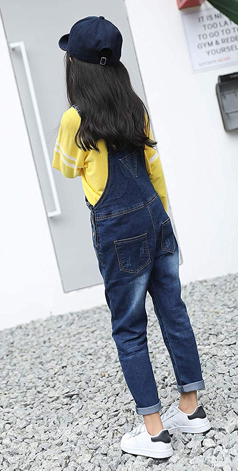 KiKibaby Girls Big Kid Distressed Bib Overalls Blue BF Style Cuffed Denim Long Jeans Trousers