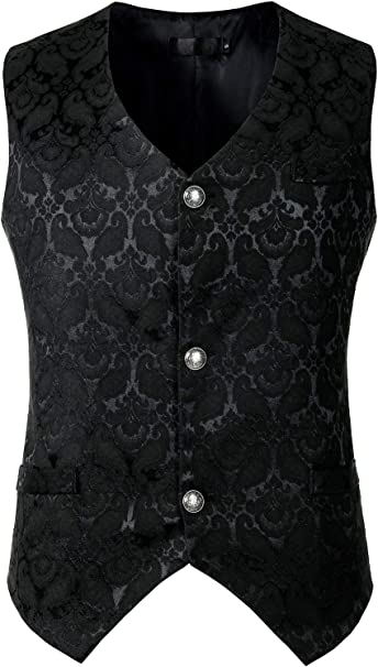 ZEROYAA Mens Single Breasted Vest Gothic Steampunk Victorian Brocade Waistcoat