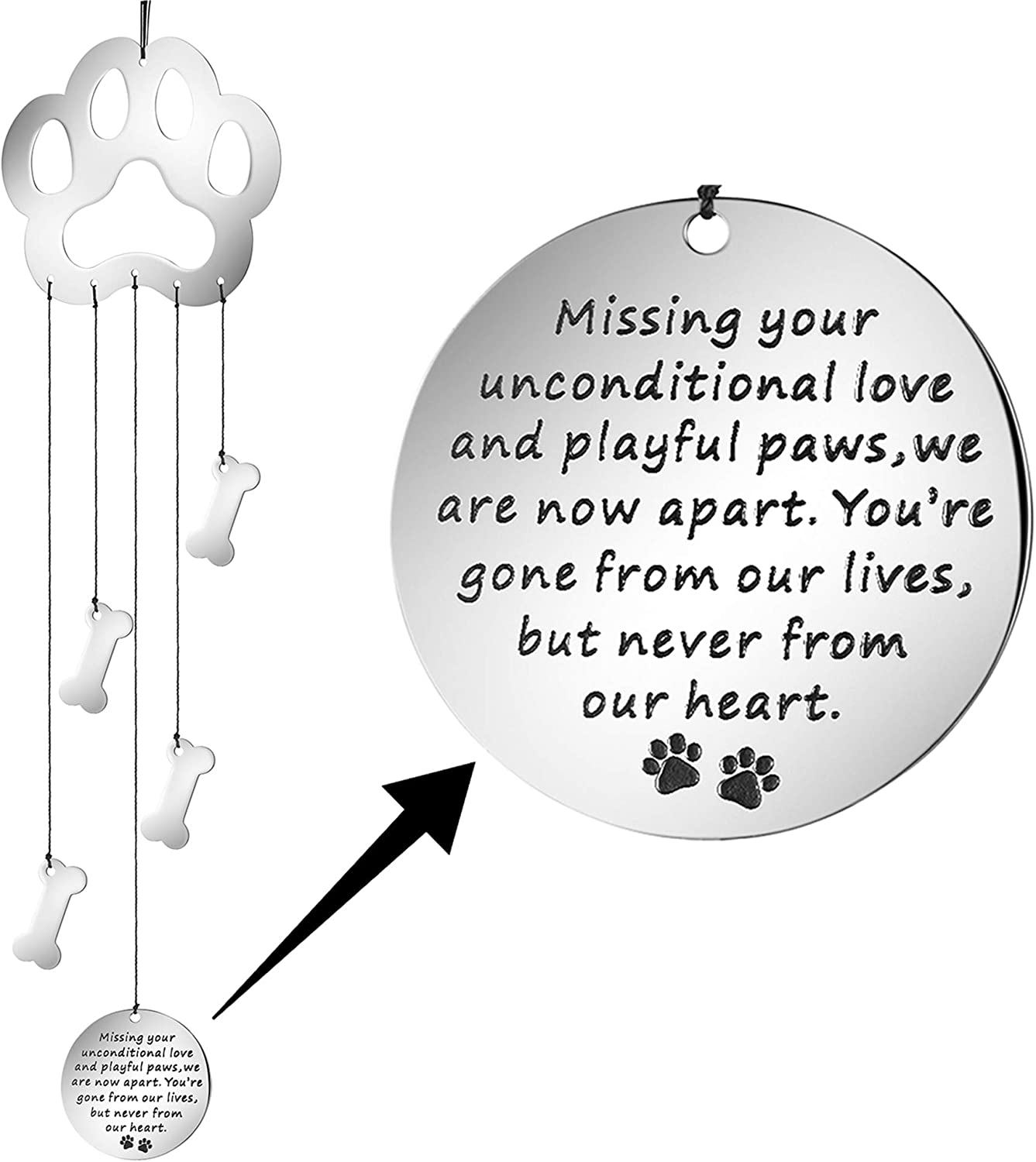 MEMGIFT Dog Memorial Wind Chime Paw Print Pet Sympathy Garden Gifts for Her Women Teen Girls Personalized Remembrance fot Pet Loss